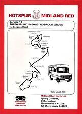Bus Timetable Leaflet ~ Midland Red Hotspur - Shrewsbury Local 16: Meole - 1991