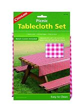 Coghlan's Picnic Tablecloth Set 3-Piece Heavy Vinyl Table Cloth w/Bench Covers