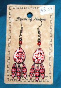 Southwestern Design Acrylic Teardrop Earrings Lightweight New FREE SHIPPING 04
