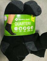 Member's Mark Black 10-Pack Quarter Top Sport Socks Ten Pairs Shoe Size 6-12 USA