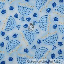 BonEful Fabric FQ Cotton Quilt Blue VTG Jewish Candle Hanukkah Menorah Religious