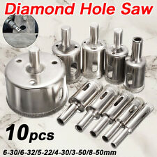 10Pcs Diamond Hole Saw Drill Bit Set Cutter Tool For Glass Ceramic Marble 8-50mm