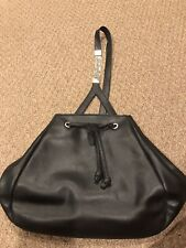 2d5761f8c485 Gianni Versace Black Leather Drawstring Shoulder Bag