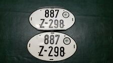 Vintage German Oval License Plates Bundesfinanzverwaltung D pair! Nice one bent
