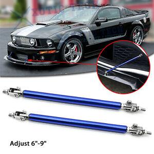 "For Ford Mustang Adjustable 6""-9"" Bumper Blue Rod Diffuser Splitter Support Bars"