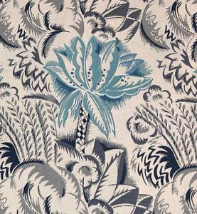 Sunbrella Frontgate Fantasy Floral Jacquard Outdoor Indoor Fabric Navy Aqua
