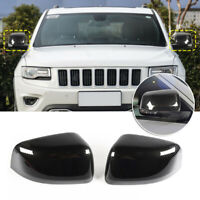 1 Pair ABS Black Rear View Mirror Covers Trim For Jeep Grand Cherokee 2011-2016