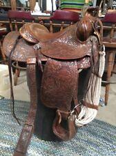 "Vtg Custom Made Western Show Trail Pleasure Saddle 15"" Sterling Silver Conchos"