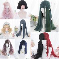 Lolita Cute Japan Doll Heat Resistant Bangs Long Short Halloween Cosplay Wig+Cap