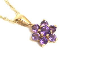 """9ct Gold Amethyst Pendant Cluster Necklace and 18"""" Chain Made in UK Gift Boxed"""