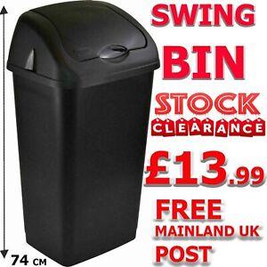 Heidrun Plastic Swing Top Bin Waste 60L Rubbish Dust Home Kitchen Office Black