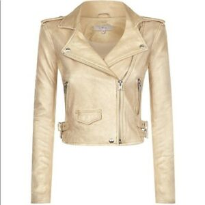 IRO Dune Biker Leather Jacket Gold Size EU 34 UK 6 XS