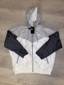 Nike NSW Windrunner Hooded Jacket Nylon Full-Zip White Grey Mens Sz XXL AR2191