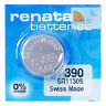 Renata 390 Pila Batteria Orologio Mercury Free Silver Oxide SR1130SW Swiss 1.55V