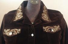 Christine Alexander Chocolate Brown Jean Jacket Swavorski Crystals Sz XL Pocket
