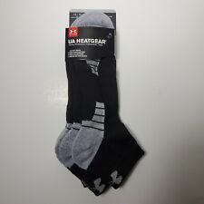 Under Armour Mens XL Socks Low Cut Sock Black Shoe Size 12-16 Heatgear 3 Pack