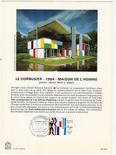 Grande carte (16x22cm) 1 er jour timbrée encart 1987 LE CORBUSIER ZURICH WEBER