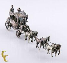 Miniature Men w/Horses & Carriage Silver Vintage Dollhouse Figurine