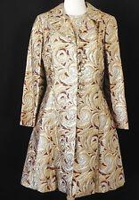Vintage 2PC set Sleeveless Dress Coat Metallic Multi-Color Knee Length Size L/XL