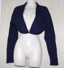 Stills Navy Blue Mohair Wool Crochet Lace Back Cropped Cardigan Women Size:M