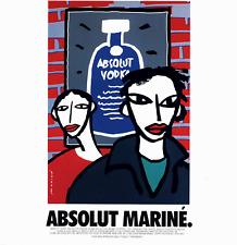 "1995 ABSOLUT MARINE VODKA BOTTLE VINTAGE PRINT AD OSCAR MARINE BRANDI 7"" 'x 9"""