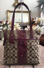 COACH SIGNATURE Khaki Cranberry Python STRIPE TOTE SHOULDER BAG F25706 MSRP $298