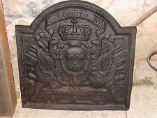 Plaque de cheminée en fonte 53 x 53 cm Couronne , fleurs de lys et dragons