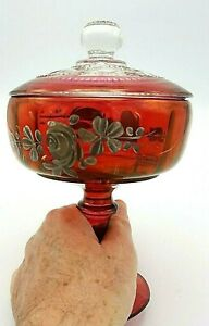 Westmoreland Ruby Red Glass Cranberry Dish King Crown Thumbprint Floral W/ Cover