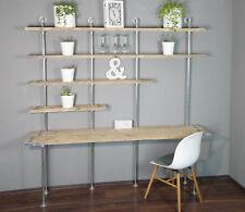 Industrie Regal Wandmontiert Arbeitsplatzkombination Schreibtisch Tisch Bauholz