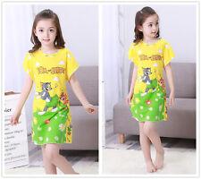 Kid Girl's Cartoon Cat Mouse Nightdress Nightgown Sleepwear Nightwear Size 8-18