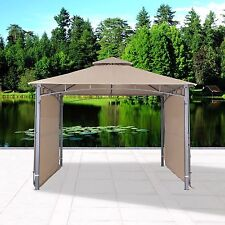 Garden Gazebo with Two Sunshade Wall Curtain Patio Canopy 130'' x 130'', Sand