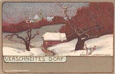 c.1905 Verschneites Dorf Germany postcard art. sgd. Ernst Liebermann Art Nouveau