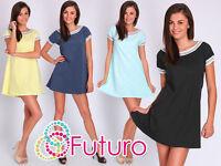 Womens Plain Shift Dress 100% Cotton Short Sleeve Party Casual Size 8-12 FT2043S