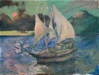 "Nautical Sunset Impressionist Oil Painting 18""x24"" Original Signed on Canvas"