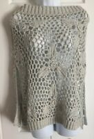 WHITE HOUSE BLACK MARKET Gray Chunky Open Weave Shaw Poncho Cap Sweater One Size