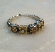 BARBARA BIXBY Sterling Silver & 18K Gold Flower Citrine Band Ring - Size 8