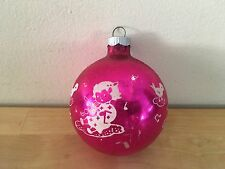 Vintage Stenciled SHINY BRITE Little Girl Violin Glass Christmas Ornament - PINK