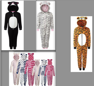 Fleece Sleeepsuit Jumpsuit Pj's All In One Onezee Zebra Cat or Stripes Childrens