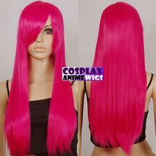 70cm Hot Rose Pink Heat Styleable Long Cosplay Wigs 76_HRP