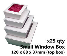 x25 SMALL WHITE WINDOW LID BOXES - for macarons, cookies, food, gift packaging