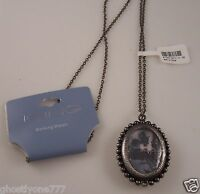 Locket shape 2 sided  necklace  watch long great christmas gift idea