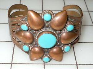 Vintage Bell Trading Post Copper Blue Stone Flower Cuff Bracelet