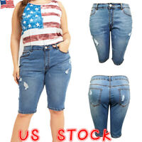 New Women Plus Size Vintage Summer Stretch Denim Jeans Shorts Hot pants Trousers