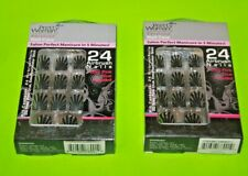 (2)  Pretty Woman Airbrush Nails 24 Black & Grey Glue-On Nails New/Carded
