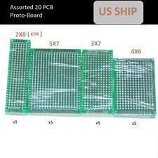 20pcs sorted  ProtoBoard Circuit Stripboard 2X8 3X7 4X6 5X7 5Pcs Each Veroboard