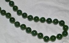 """ESTATE GREEN JADE BEADED STRAND NECKLACE 32""""-WOW! FREE USA SHIP-10mm"""