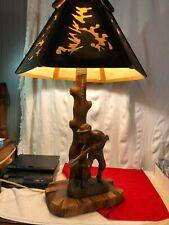 Vintage German Hand Carved Black Forest wood Lamp  WORKS