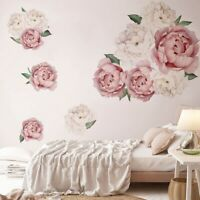 Large Peony Flower Wall Art Sticker Home Backgruond Living Room Decal Decor NEW