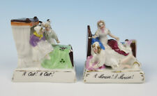 Quality Pair Early Fairing A CAT! A MOUSE! Victorian German Porcelain Figurine