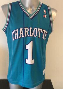 charlotte hornets jersey Champion Vintage Medium Bogues #1 Excellent NBA